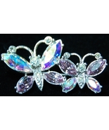 Butterly Pair Aurora Borealis Crystal Stone Brooch - $10.00