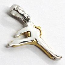 Yellow Gold Pendant White 750 18K, Karate, Karateka, Made IN Italy image 3