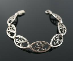 Vintage .925 Sterling Silver Signed WRE RICHARDS Oval Openwork Bracelet ... - $25.64
