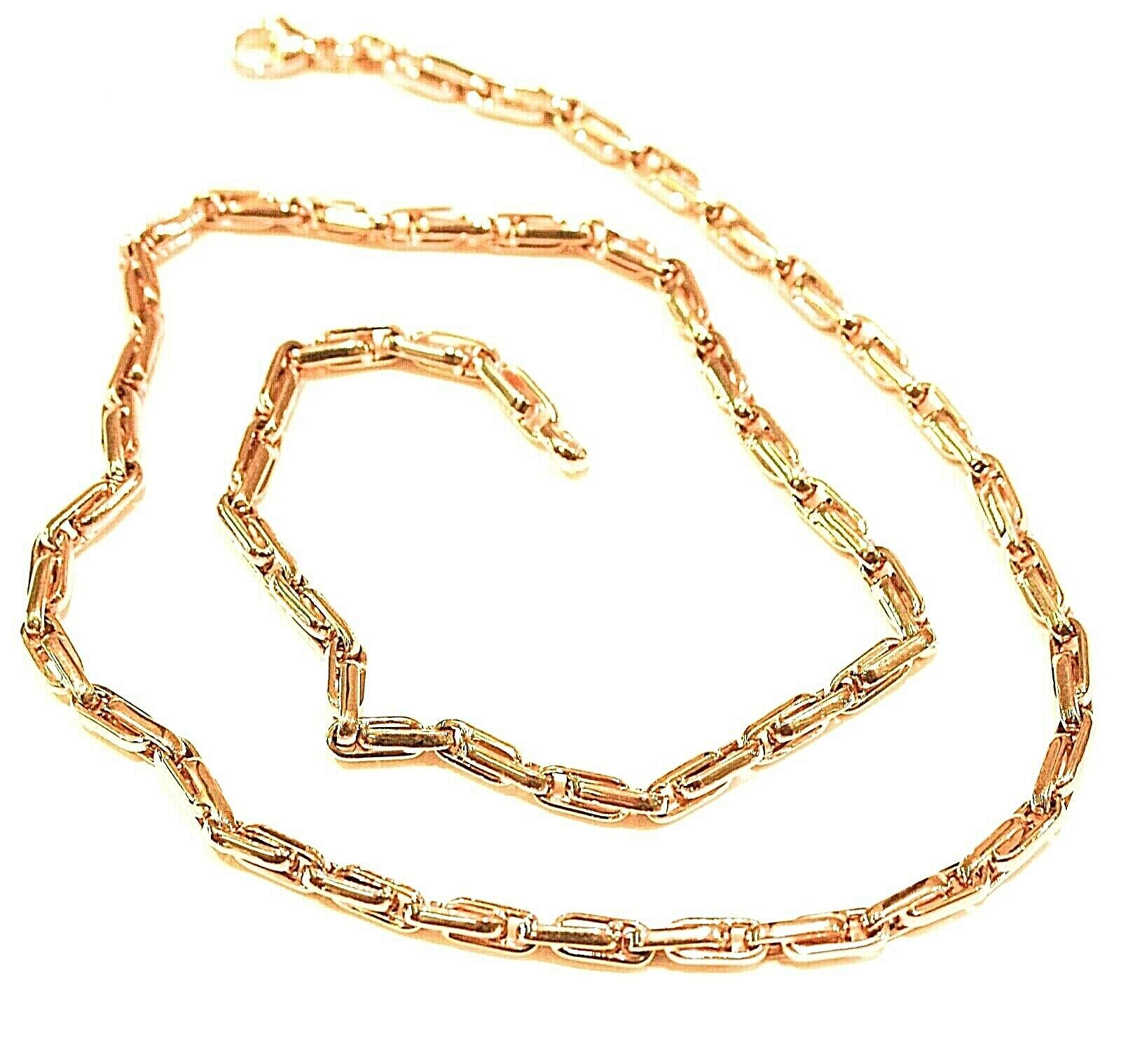 18K YELLOW GOLD CHAIN ALTERNATE OVALS 4 MM, 24 INCHES, SQUARED TUBE NECKLACE