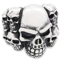 Stainless Steel Big Skull Pile Men Biker Ring US Size 10 - $12.99