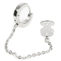 1pc Stainless Steel Silver Color Hoop Bear Stud Chain Earring - $9.00