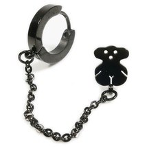 1pc Stainless Steel Black Hoop Bear Stud Chain Earring - $9.50
