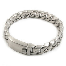 "Stainless Steel Brush Curb Chain Men Bracelet 12mm 8.5"" - $32.00"