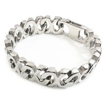 "Stainless Steel Heavy Polish Link Chain Men Bracelet 17mm 8"" - $22.00"