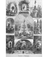 PHILADELPHIA City Fountains & Squares  - 1883 German Print - $21.60
