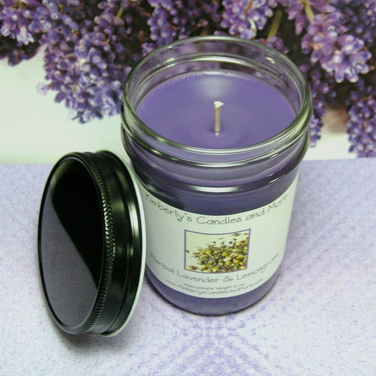 Herbal Lavender and Lemongrass PURE SOY Jelly Jar Candle