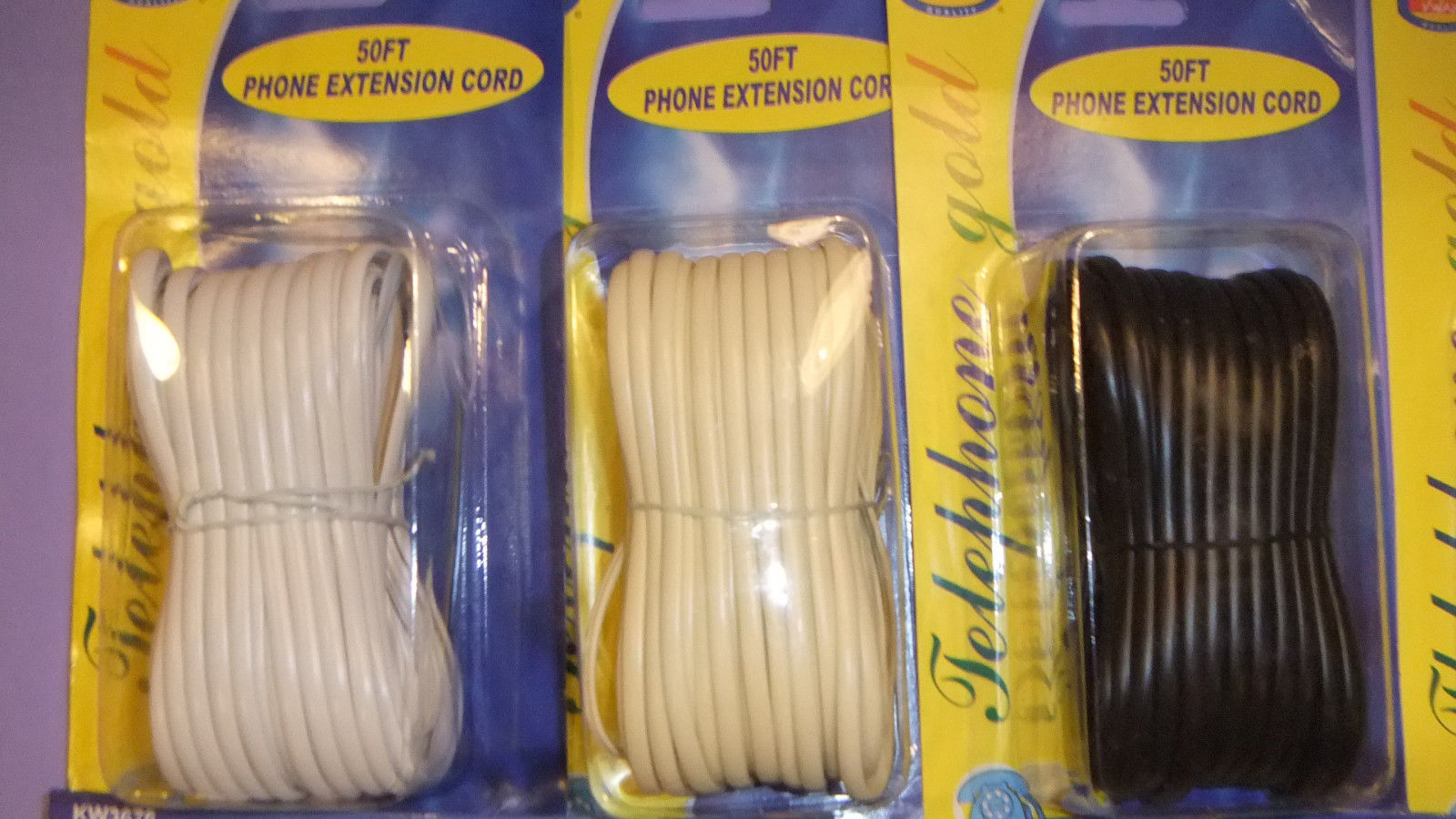 50 FT or 100 FT - BLACK or WHITE TELEPHONE CORD PHONE CABLE FEET FOOT WALL PLUG