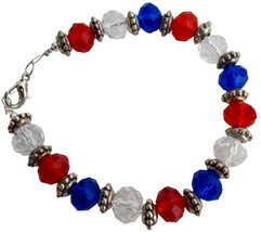 Love USA 4th Of July Celebrate Patriotic Day Red White Blue Bracelet - $12.73