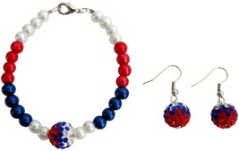 4th of July Patriotic Military Mom Jewelry Red White Blue Bracelet - $14.03
