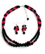 Twisted Double Strand Necklace Magenta And Blac... - $19.88