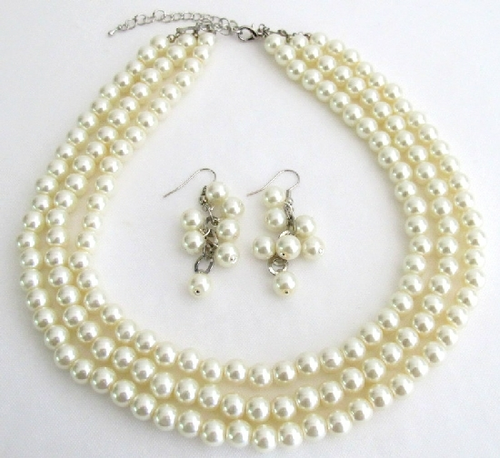 Primary image for Beautiful Designed Jewelry Ivory Pearl Wedding Bridal Bridesmaid Three