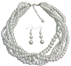 White Five Strand Braided Twisted Necklace With Dangling Earrings Brid - $37.43