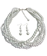 White Five Strand Braided Twisted Necklace With... - $37.43