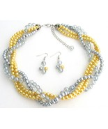 Yellow Gray Pearls Twisted Necklace Earrings We... - $30.28