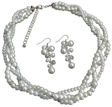 Impressive Bridal Jewelry In Rich White Pearl Rhinestones Sparkle Twis - $27.68