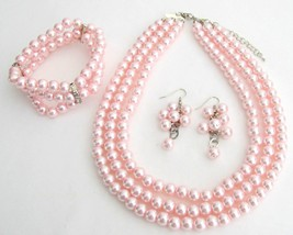 Best Bridal Jewelry Pink Pearls Three Strands Necklace Bracelet Grape - $30.28