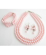 Best Bridal Jewelry Pink Pearls Three Strands N... - $30.28