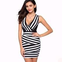 Sexy V-Neck Patchwork Stripe Women Bodycon Dress - $19.10
