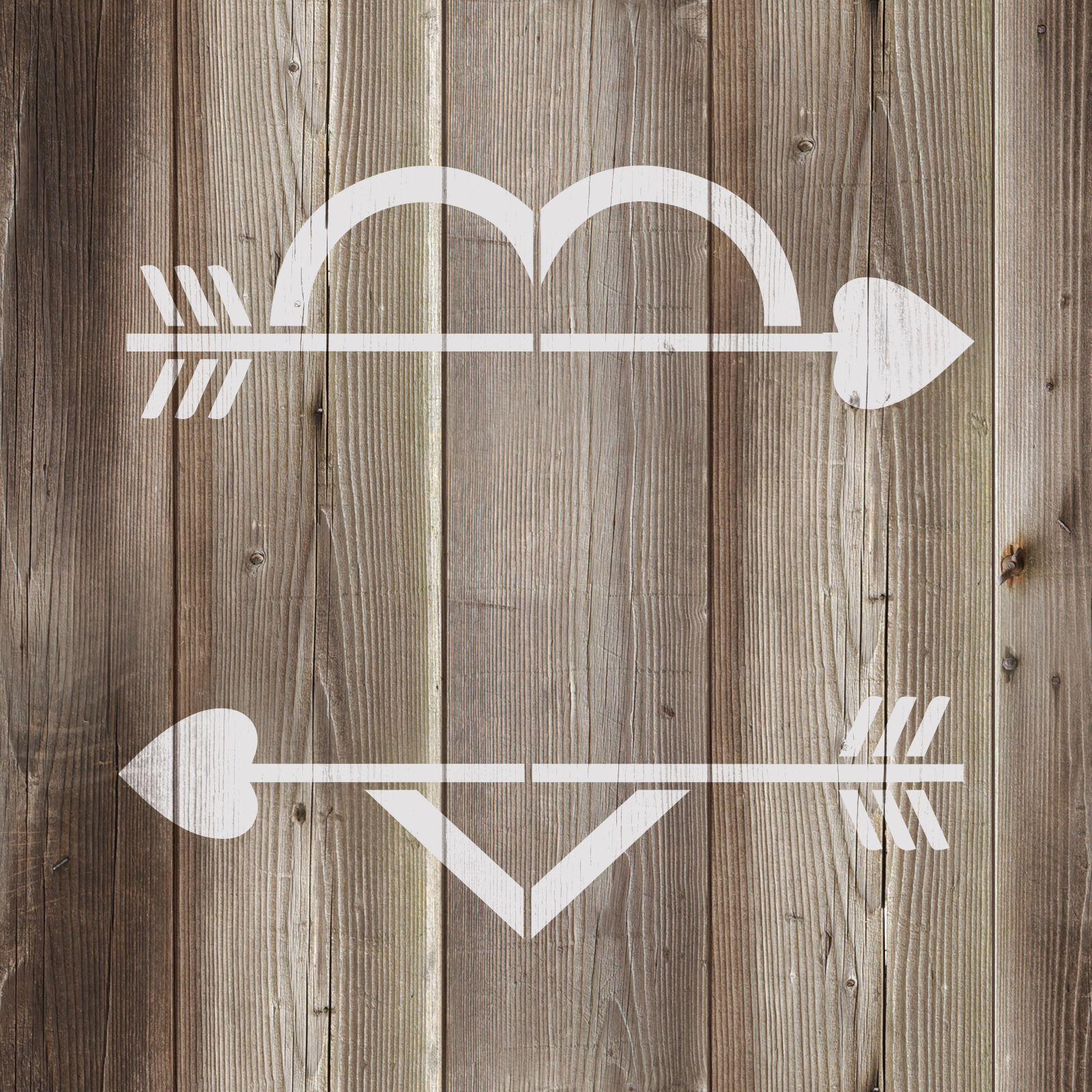 Arrow Heart Stencil - Reusable Stencils of Arrow Heart in Multiple Sizes
