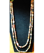 Vintage Earthtone Wood Bead Necklace - $7.00