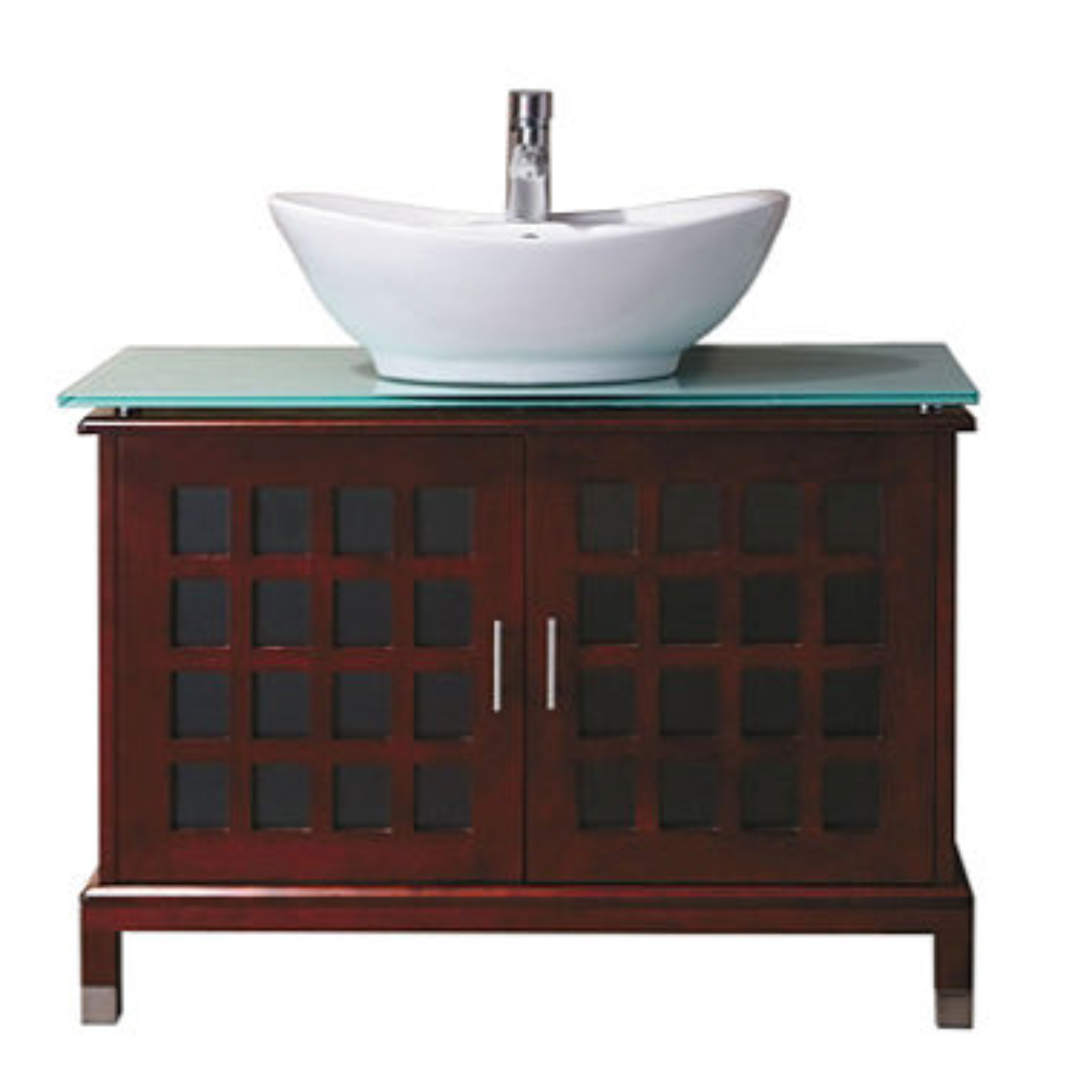 Jenna Bathroom Vanity Tempered Glass Top Model 502268 Ceramic Basin NEW