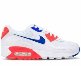 NIKE AIR MAX 90 WHITE/BLUE-FLASH CRIMSON TRAINERS SNEAKER WOMEN SHOES CT... - $134.80