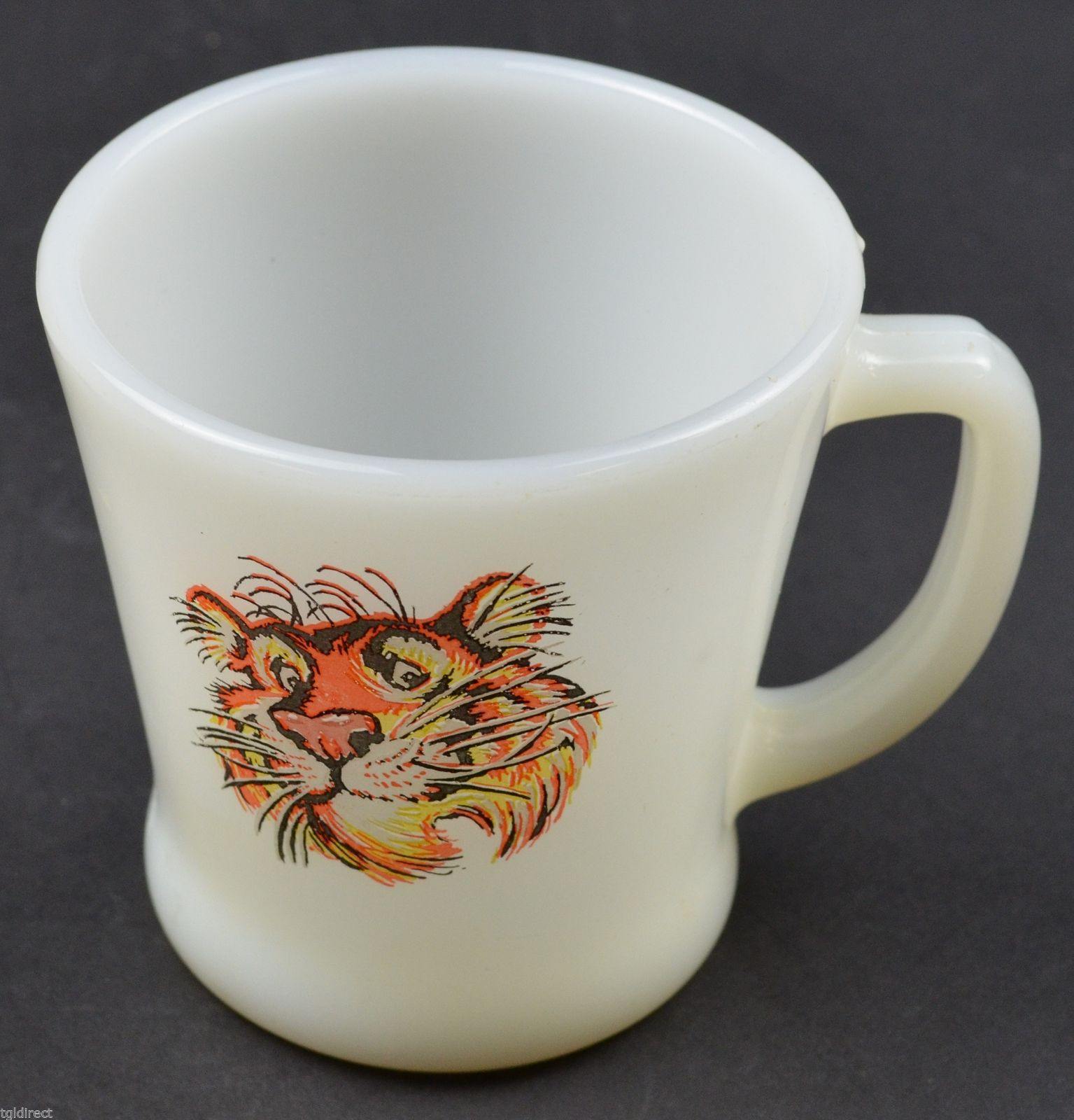 166a69ede74 Anchor Hocking Fire King Mug Esso Tiger Pattern 3.375