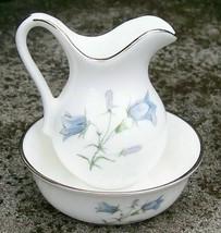 Oakley Bluebell Miniature Bone China Pitcher & Bowl Set Blue & White - $20.00