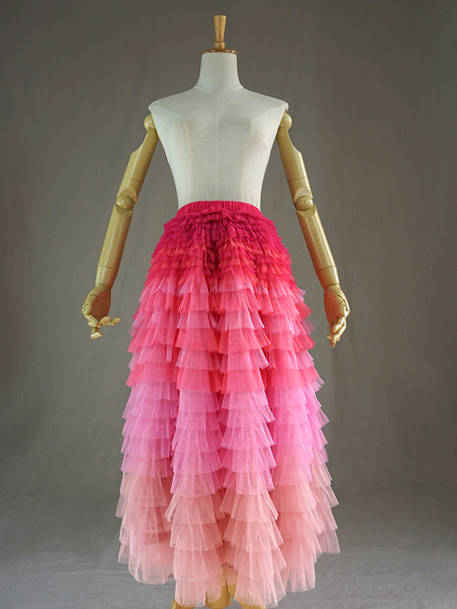 Pink Blush Nude Tiered Tulle Skirt Women High Waist Tiered Tulle Skirt Plus Size