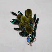 Killer Vintage Prong Set Art Glass Rhinestone Brooch Pin Spray Design - $80.00