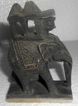 India Vintage Deco Elephant Figurine Hand Crafted On White Soft s483 - $38.25