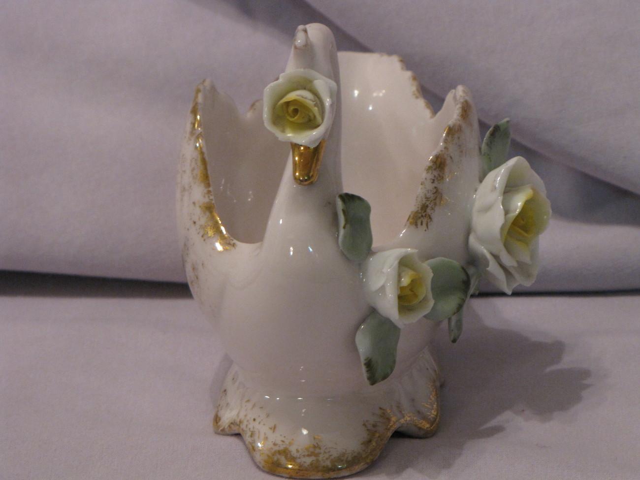 Lefton China Pink Swan Planter