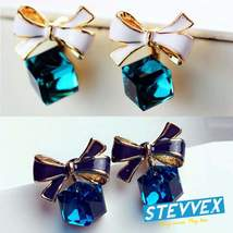 High Quality Fashion Gift Bow Knot Cubic Green Rhinestone Stud Earrings ... - $16.00