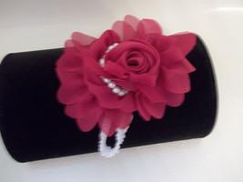 Newborn Baby Girl White Headband With Fuchsia/Hot Pink  Chiffon Flower Bow - $7.50