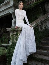New White Lace Sexy Long Sleeve Backless O-Neck Mermaid Wedding Gown Plus sizes image 2