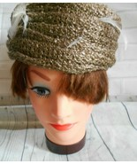 Vintage Best's Apparel Gold Straw Feather Accent Small Pill Box Hat - $21.27