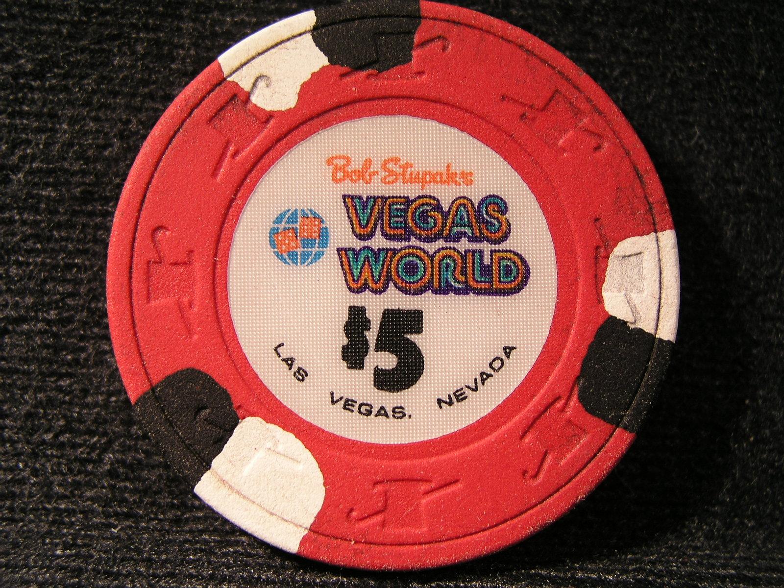 "$5.00 CASINO CHIP FROM: ""BOB STUPAK'S VEGAS WORLD"" - (sku#2309)"