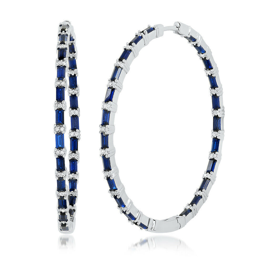 "2"" Blue Baguette+Round Signity CZ Sterling Silver Inside Outside Hoop Earrings - $159.99"