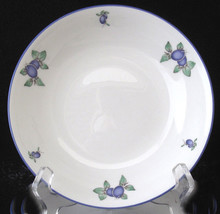Royal Doulton Blueberry Cereal Bowl All Purpose Seven Inch White Blue Trim - $26.99