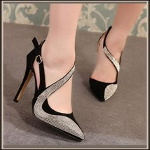 Black or Nude Pink Rhinestone Studded Swirl Buckle Ankle Strap Stiletto Heels