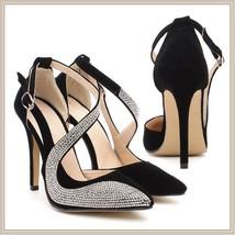 Black or Nude Pink Rhinestone Studded Swirl Buckle Ankle Strap Stiletto Heels  image 2