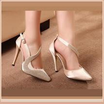 Black or Nude Pink Rhinestone Studded Swirl Buckle Ankle Strap Stiletto Heels  image 3