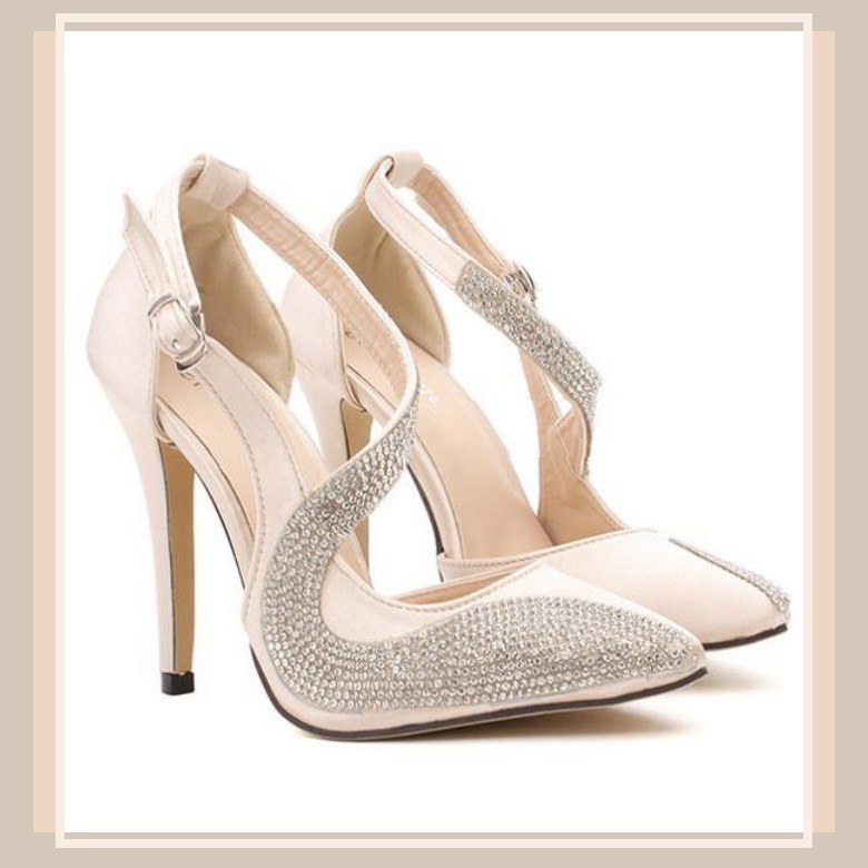 Black Or Nude Pink Rhinestone Studded Swirl Buckle Ankle Strap Stiletto Heels - Heels-2712