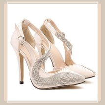 Black or Nude Pink Rhinestone Studded Swirl Buckle Ankle Strap Stiletto Heels  image 4