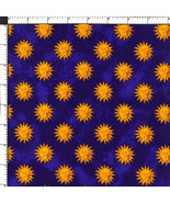 CELESTIAL ZODIAC SUN BLUE GOLD FABRIC SPRINGS INDUSTRIES OOP - $20.00