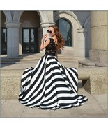Black and White Full Waves Flare Gown with Blace Lace Bodice Summer Dress - $62.95