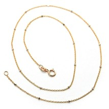 """18K ROSE & WHITE GOLD CHAIN MINI THIN ROLO 1mm ALTERNATE FACETED CUBES 16"""" - $248.00"""