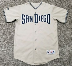 Mens Majestic SAN DIEGO PADRES Vintage Tan Road Jersey MLB ~ Medium - $38.75