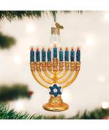 OLD WORLD CHRISTMAS MENORAH HANUKKAH GLASS CHRISTMAS ORNAMENT 36177 - $12.88